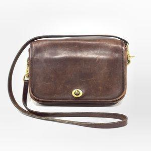 Vintage Coach Brown Leather Crossbody Bag Purse
